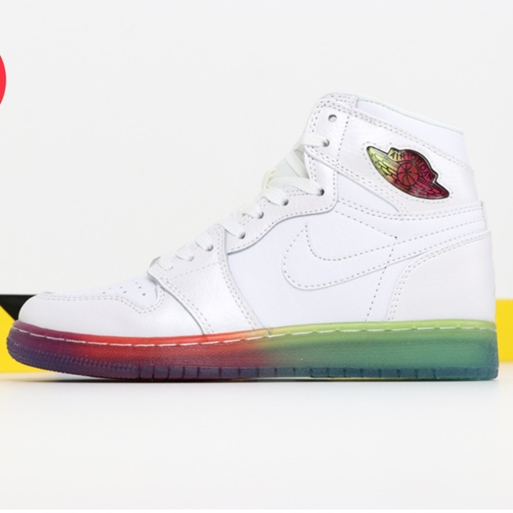 Jordan 1 Retro White Rainbow Sole